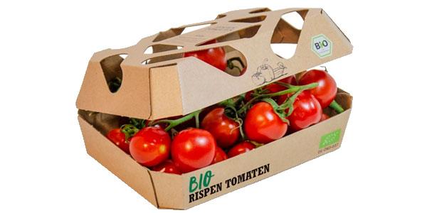 Bandejas de cartón corrugado  para tomates orgánicos llegan a los supermercados